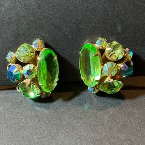 Vintage Juliana D&E Blue Green & Gold Earrings